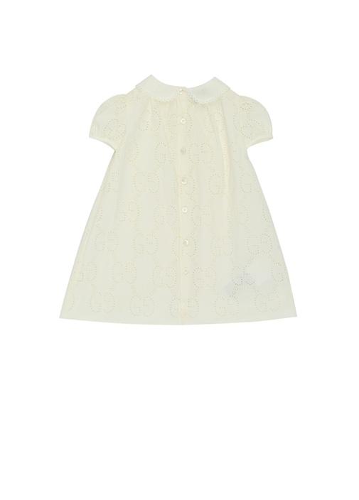 Ekru Bebe Yaka Kız Bebek Dantelli Elbise