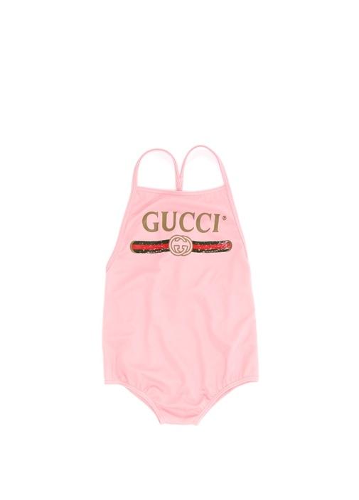 Pembe İnce Askılı Logolu Kız Bebek Mayo