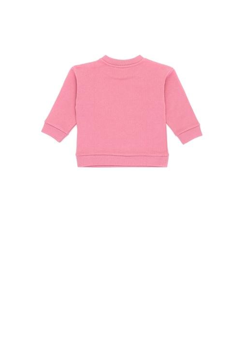 Pembe Fiyonk Patchli Kız Bebek Sweatshirt