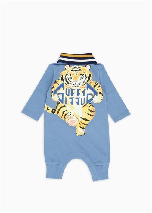 Mavi Polo Yaka Logolu Erkek Bebek Tulum