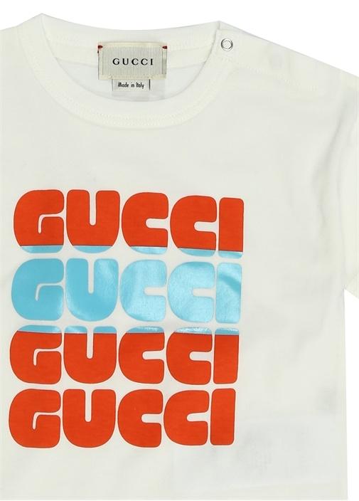 Beyaz Logo Baskılı Erkek Bebek T-shirt