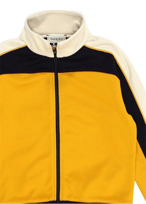 Sarı Dik Yaka Baskılı Erkek Çocuk Sweatshirt