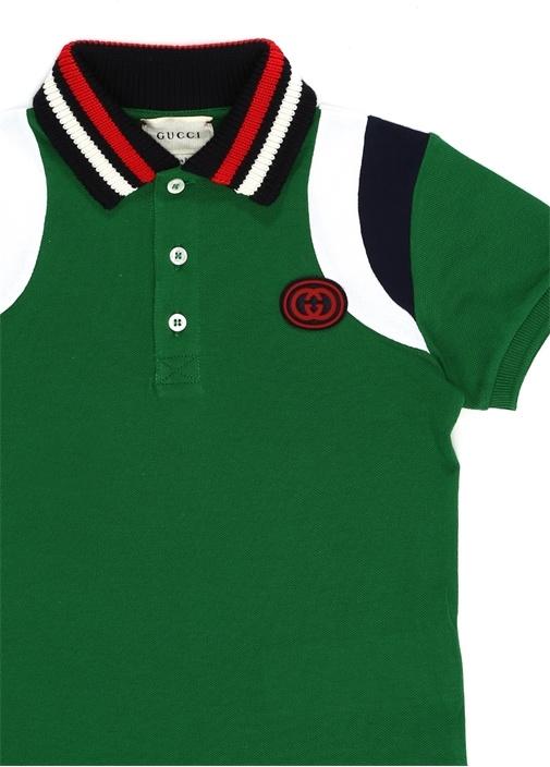 Yeşil Logo Patchli Erkek Çocuk Polo Yaka T-shirt