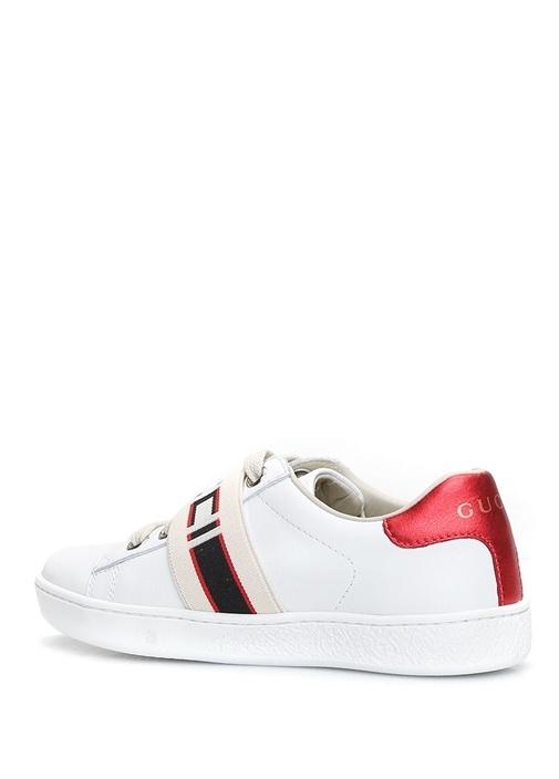 Beyaz Logo Bantlı Kız Çocuk Deri Sneaker
