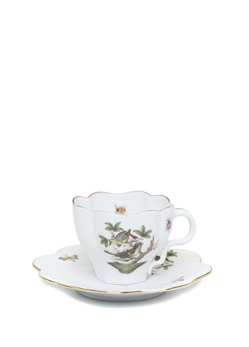 Kuş Motifli Porselen Çay Fincanı