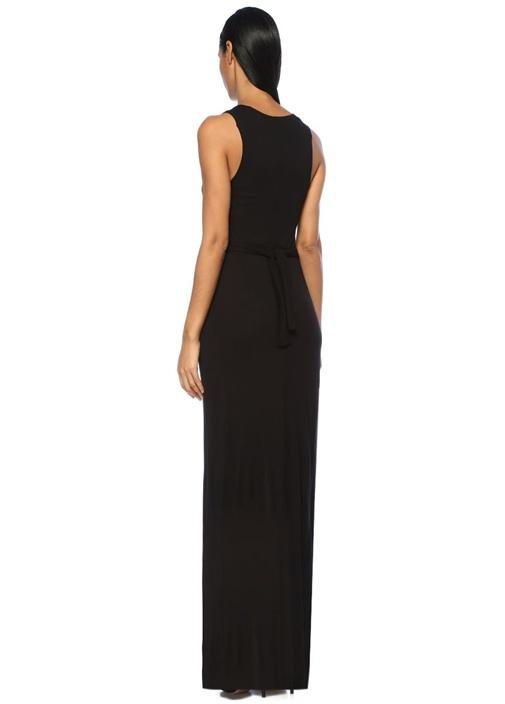 Elke Vi Siyah V Yaka Yırtmaçlı Maksi Elbise
