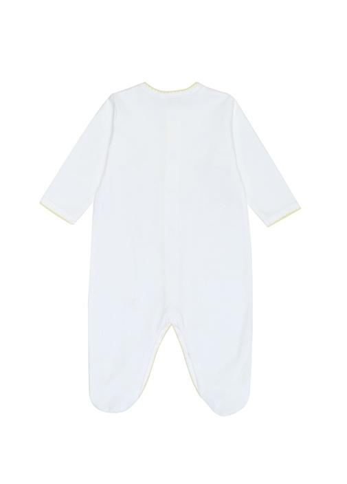 Beyaz Sarı Civciv Nakışlı Unisex Bebek Tulum