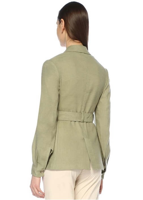 Haki Kırlangıç Yaka Beli Kuşaklı Keten Ceket