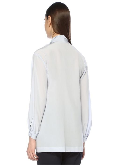 Mavi V Yaka Yakası Bağcıklı Uzun Kol İpek Bluz