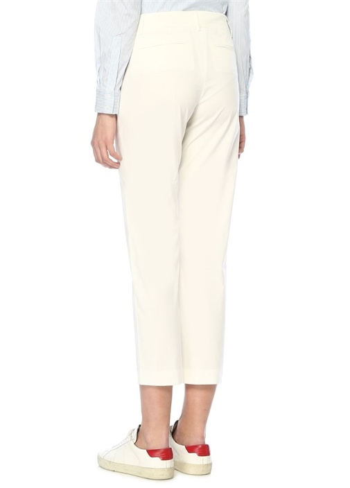 Beyaz Normal Bel Streç Pantolon
