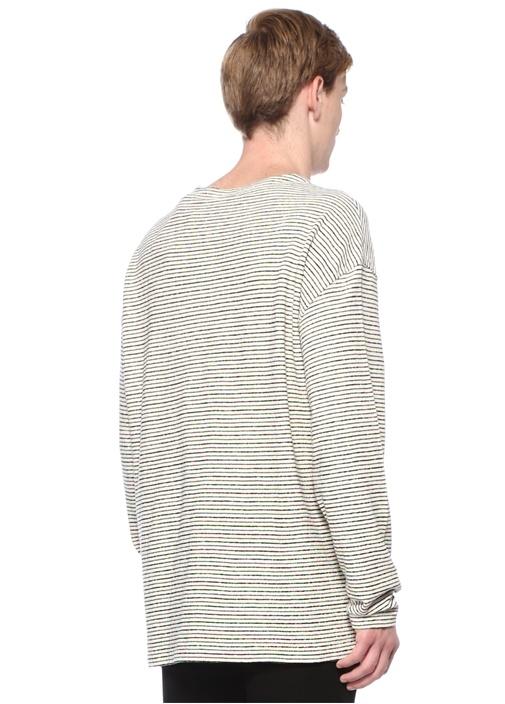 Salvano Kayık Yaka Çizgili Uzun Kollu T-shirt