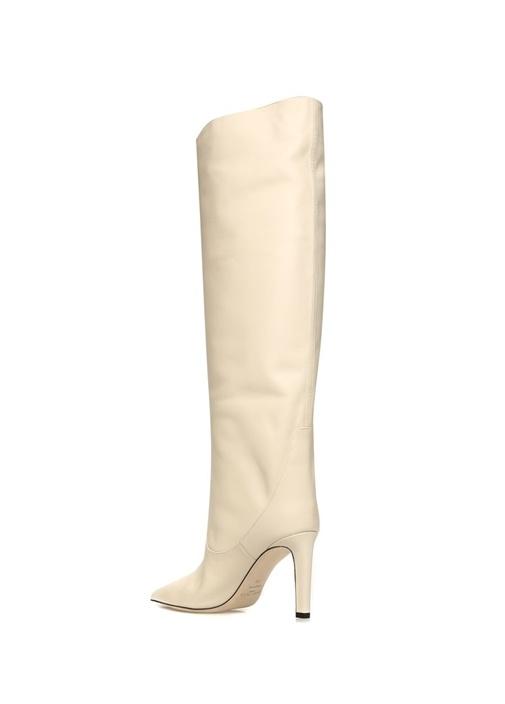Mavis Beyaz Kadın Deri Çizme