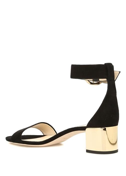 Jaimie Siyah Gold Topuklu Kadın Süet Sandalet