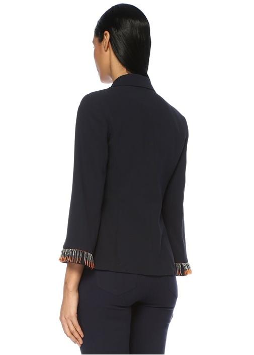 Lacivert Kelebek Yaka Kolu İşleme Detaylı Ceket