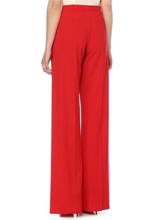 Kırmızı Normal Bel Bol Paça Yün Pantolon