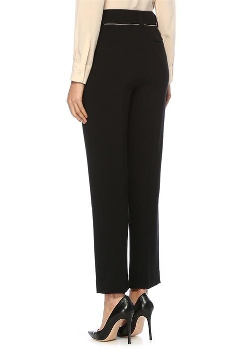 Siyah Yüksek Bel Kontrast Şeritli Krep Pantolon