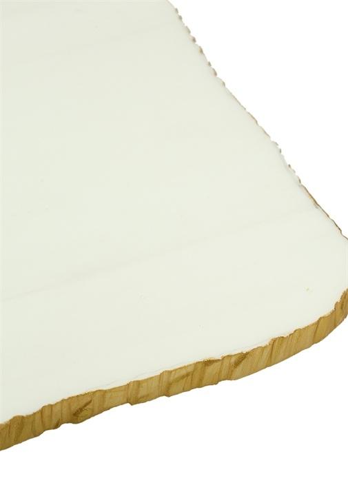 Beyaz Gold Detaylı Mermer Peynir Tabağı