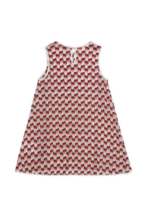 Beyaz Kırmızı Desenli Kız Çocuk Elbise