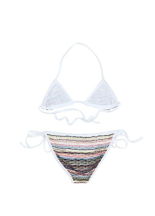Colorblocked Örgü Dokulu Kız Çocuk Bikini Takımı