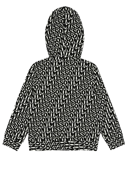 Siyah Beyaz Kapüşonlu Logolu Kız Çocuk Sweatshirt