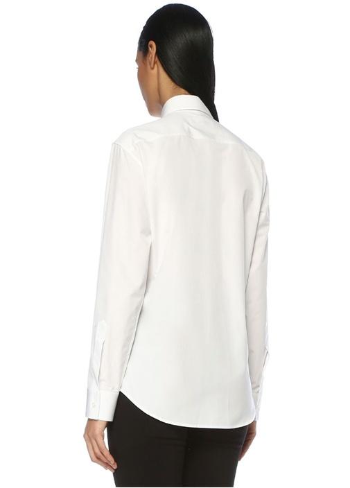 Beyaz Logo Baskılı Dantel Aplikeli Cepli Gömlek