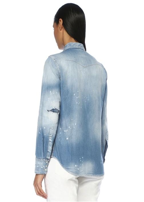 Yıpratma Detaylı Fırça Darbeli Denim Gömlek