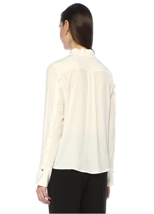 Ekru Kol Arkası Düğme Detaylı İpek Gömlek