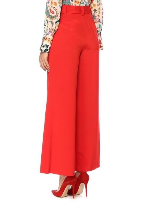 Kırmızı Yüksek Bel Bağcıklı Bol Paça İpek Pantolon