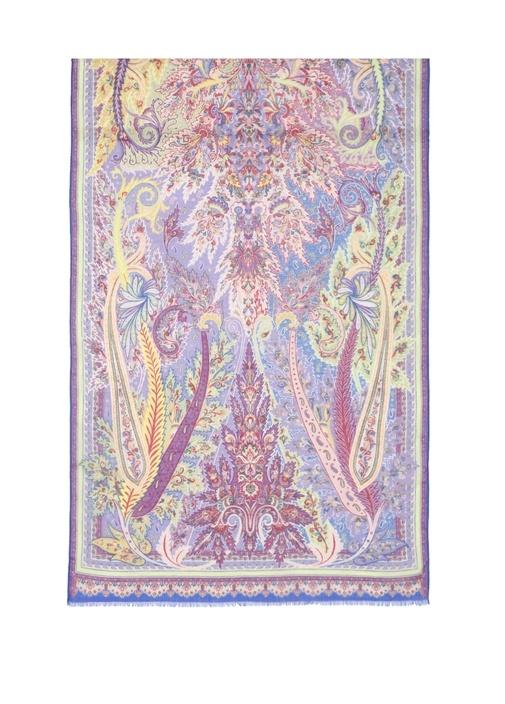 Mavi Mor Etnik Desenli Kadın İpek Şal