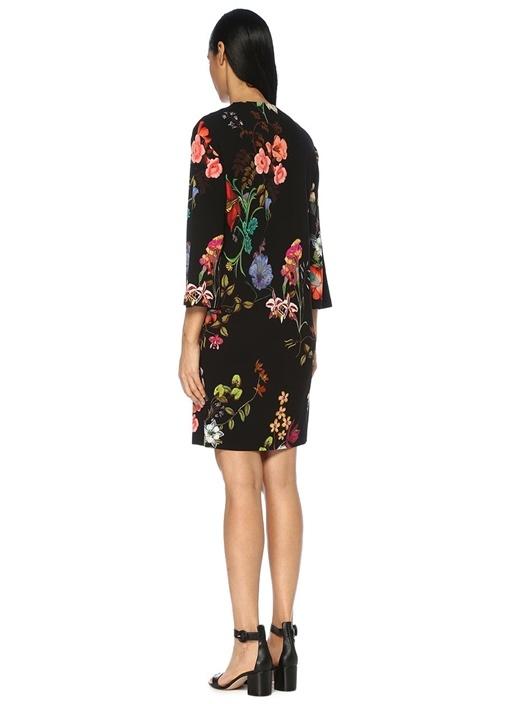 Siyah V Yaka Çiçekli Truvakar Kol Mini Elbise