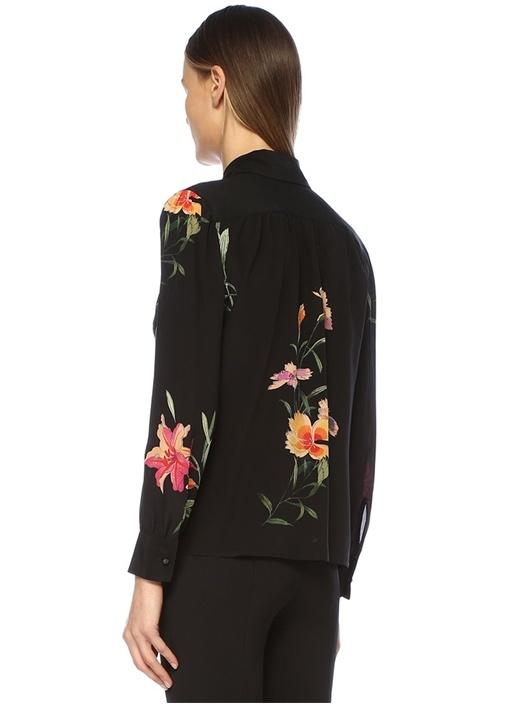 Siyah Çiçek Desenli İpek Gömlek