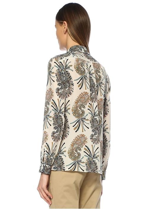 Ekru Şal Desenli Şerit Detaylı İpek Gömlek
