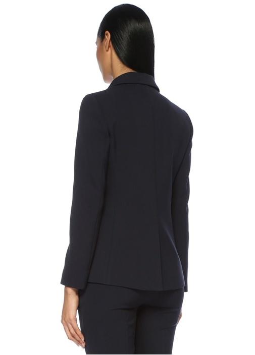 Lacivert Kelebek Yaka Klasik Blazer Ceket