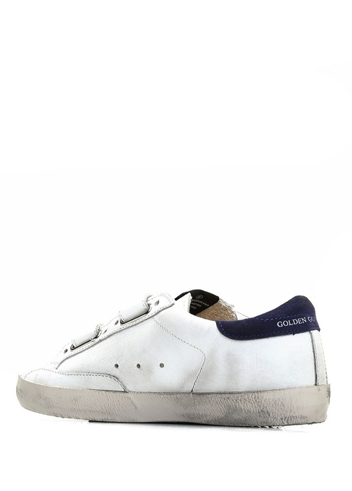 Beyaz Eskitmeli Logolu Kız Çocuk Deri Sneaker