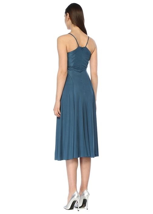 Mavi Kalp Yaka Dantel Biyeli Midi Elbise