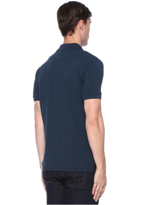 Slim Fit Lacivert Logo Nakışlı Polo Yaka T-shirt
