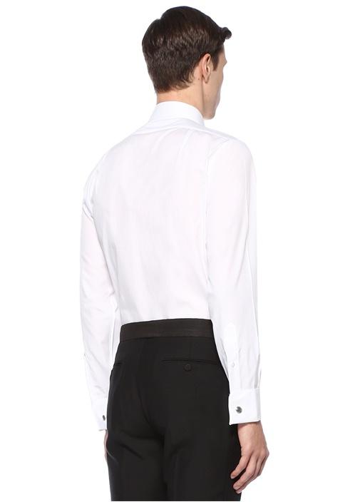 FML Ds Beyaz İngiliz Yaka Garnili Gömlek