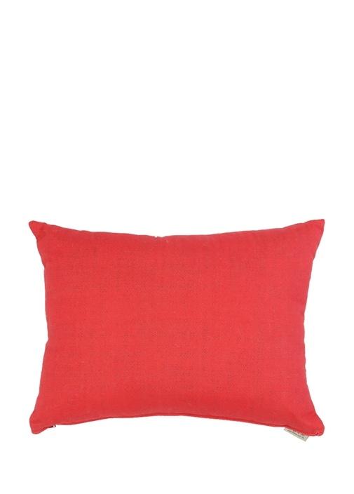 Kırmızı Yazı Jakarlı Dekoratif Yastık