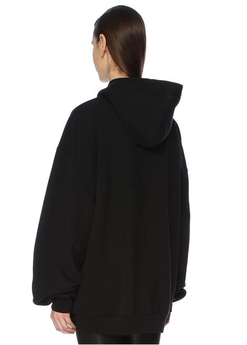 Siyah Kapüşonlu Baskılı Oversize Sweatshirt