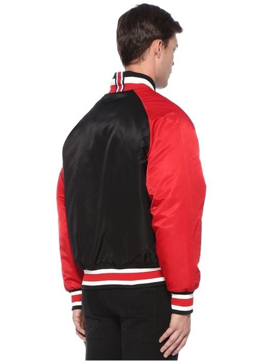 Siyah Kırmızı Dik Yaka Logo Patchli Bomber Mont