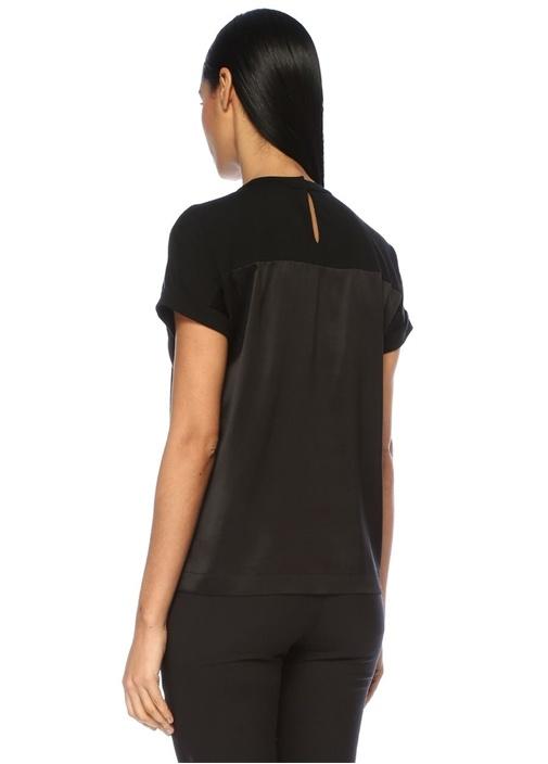 Siyah Saten Garnili Zincir Şeritli İpekT-shirt