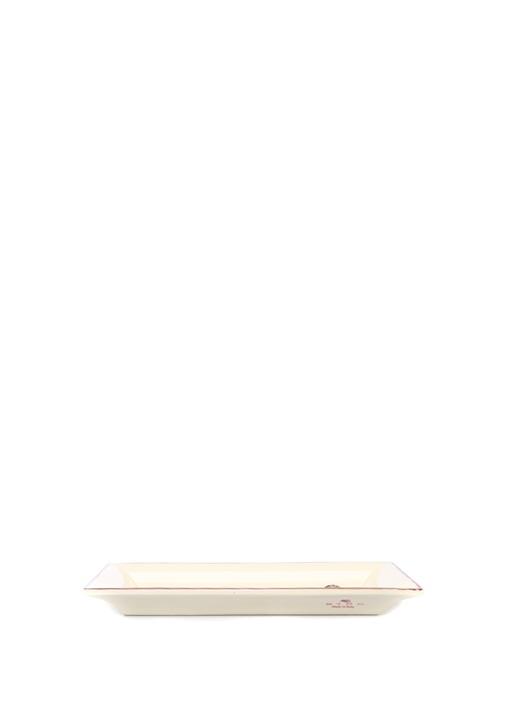 Beyaz Yılan Desenli Seramik Tepsi