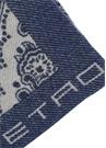 Mavi Etnik Desenli Logo Jakarlı Yün Throw