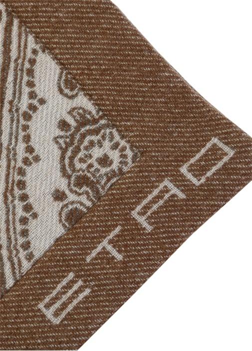 Kahverengi Etnik Desenli Logo Jakarlı Yün Throw