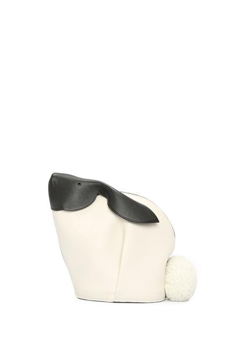 Mini Tavşan Formlu Gri Kadın Deri Omuz Çantası