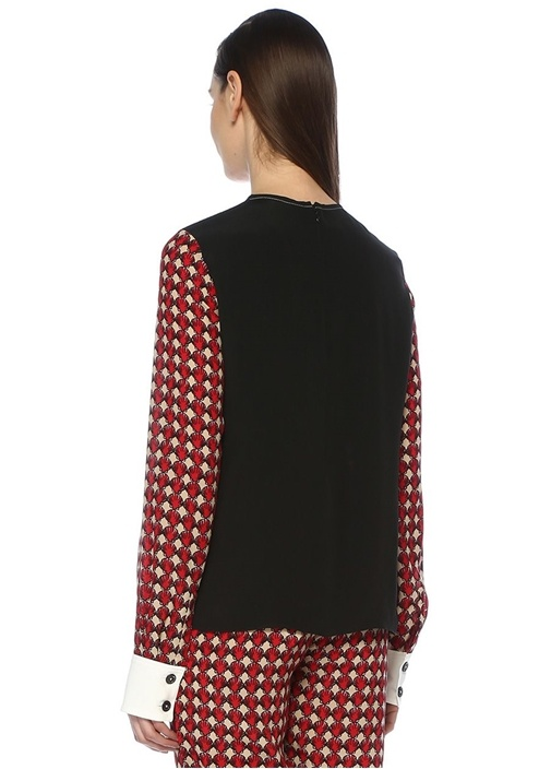 Kırmızı Deniz Kabuğu Desenli İpek Bluz