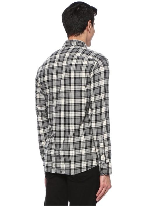 Slim Fit Siyah Beyaz Ekose Desenli Gömlek
