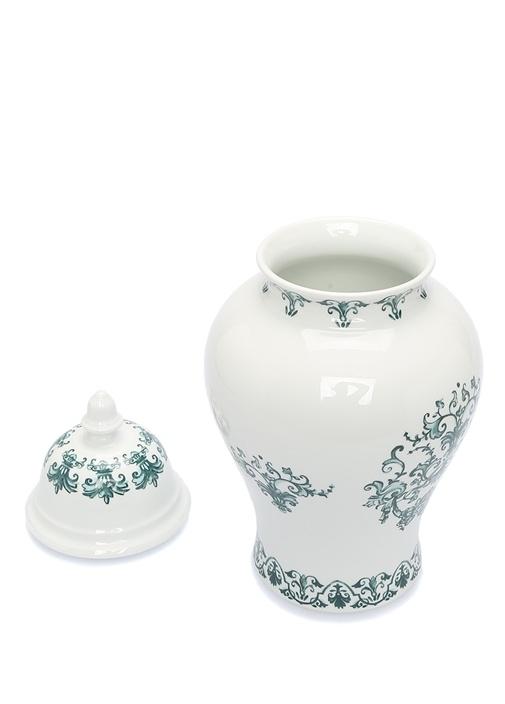 Babele Beyaz Yeşil Desneli Porselen Vazo