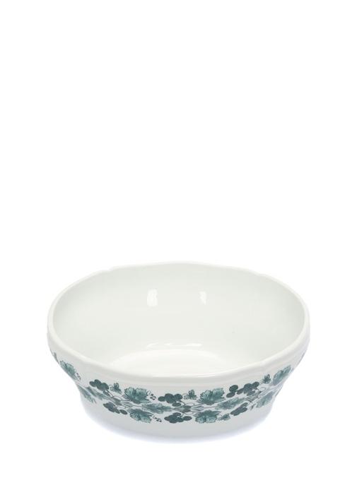 Babele Beyaz Yeşil Oval Porselen SalataKasesi