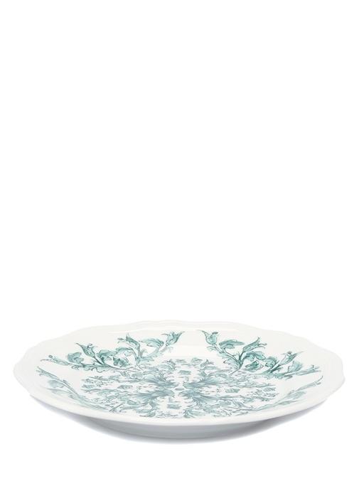 Babele Beyaz Desenli Porselen Ekmek Tabağı